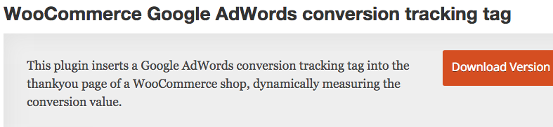 WooCommerce google adwords conversion tracking tag