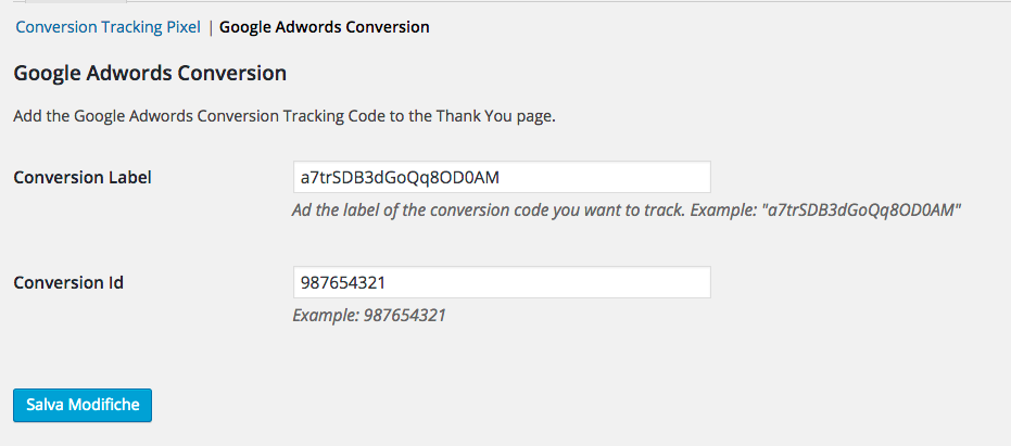 Woocommerce Adwords Conversion Tracking modifca