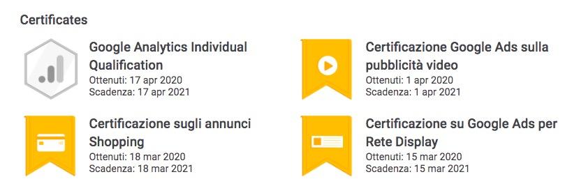 Certificazioni Google Ads Eleonora Manfrini